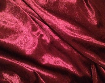 Stretch velour fabric, beautiful burgundy velvet