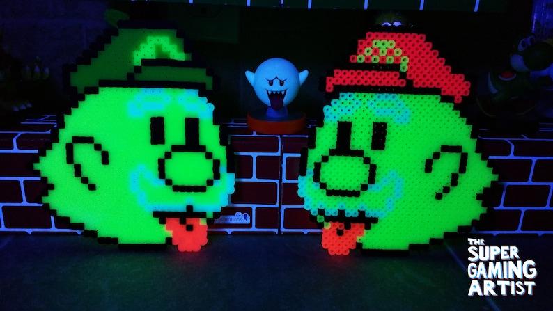 Mario Perler Boo Mario /& Boo Luigi Super Mario Custom Made Perler Bead Art 8-bit