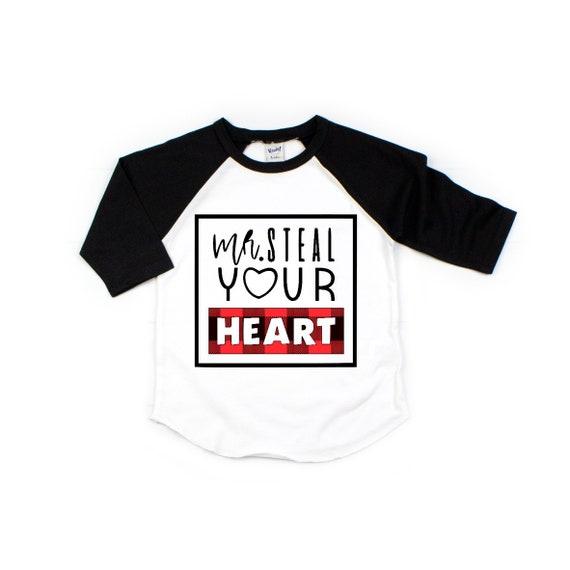 KIDS RAGLAN SHIRT VALENTINES DAY SHIRT BUFFALO PLAID HEART