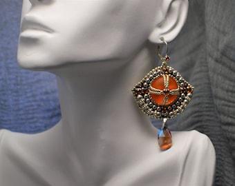 Swarovski earrings-handmade earrings-beaded earrings-embroidery earrings-beadweaving earrings-boho-bohemian-wedding-prom-dangle-orange