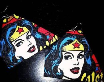 Large triangle size wonder woman earrings
