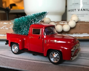 Little red truck with Christmas tree, Christmas decor, farmhouse decor, 1955 Chevy pickup truck, toy truck, vintage inspired pickup truck