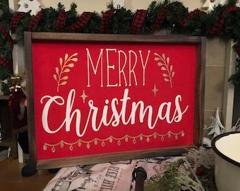 Large Merry Christmas Wood Sign, Merry Christmas Sign Wood. Merry Christmas Sign Rustic Mantle Decor. Farmhouse Christmas Decor