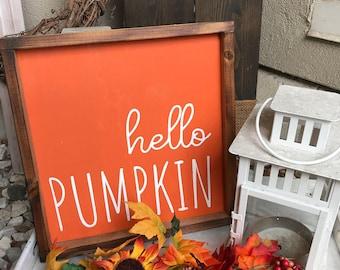 Hello Pumpkin Wood Sign, Wooden Hanging, Farmhouse Fall Decor, Small Fall Sign, Thanksgiving and Autumn Farm Style Decor, Pumpkins