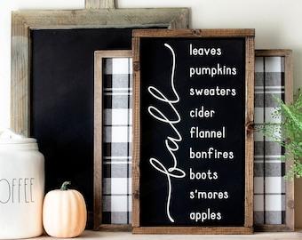 Hello Fall Wood Sign, Fall Bucket List, Farmhouse Fall Sign, Fall Wall Decor, Rustic Wood Signs
