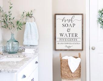 Farmhouse Bathroom Decor, Fresh Soap and Water, Bathroom Sign, Farmhouse Home Decor, Wall Hanging, Farmhouse Wall Decor, Wood Sign