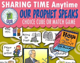 "2018 MAY Weeks 1 and 2 Sharing Time ""The living prophet leads Church under the direction of Jesus Christ"" ACTIVITY Prophet Speaks Match Game"
