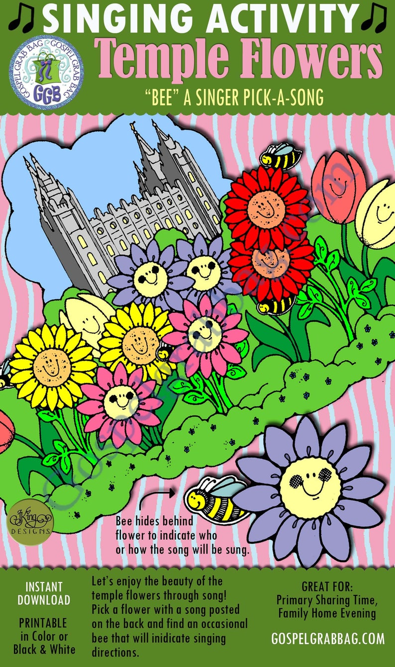 "Primary Music Singing Activity, ""Temple Flowers 'Bee' a Singer pick-a-song,  singing commands, Primary chorister INSTANT DOWNLOAD singing fun"