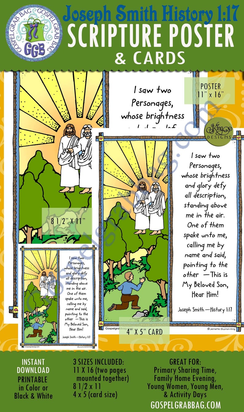 FIRST VISION - JSH 1:17 (Joseph Smith History), Scripture Poster and Cards  - 3 sizes,