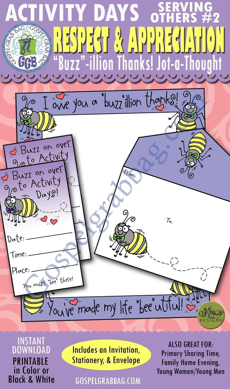 Activity Days Serving Others GOAL 2 (write appreciation letter) PRINTABLE  Invitation/Activity: