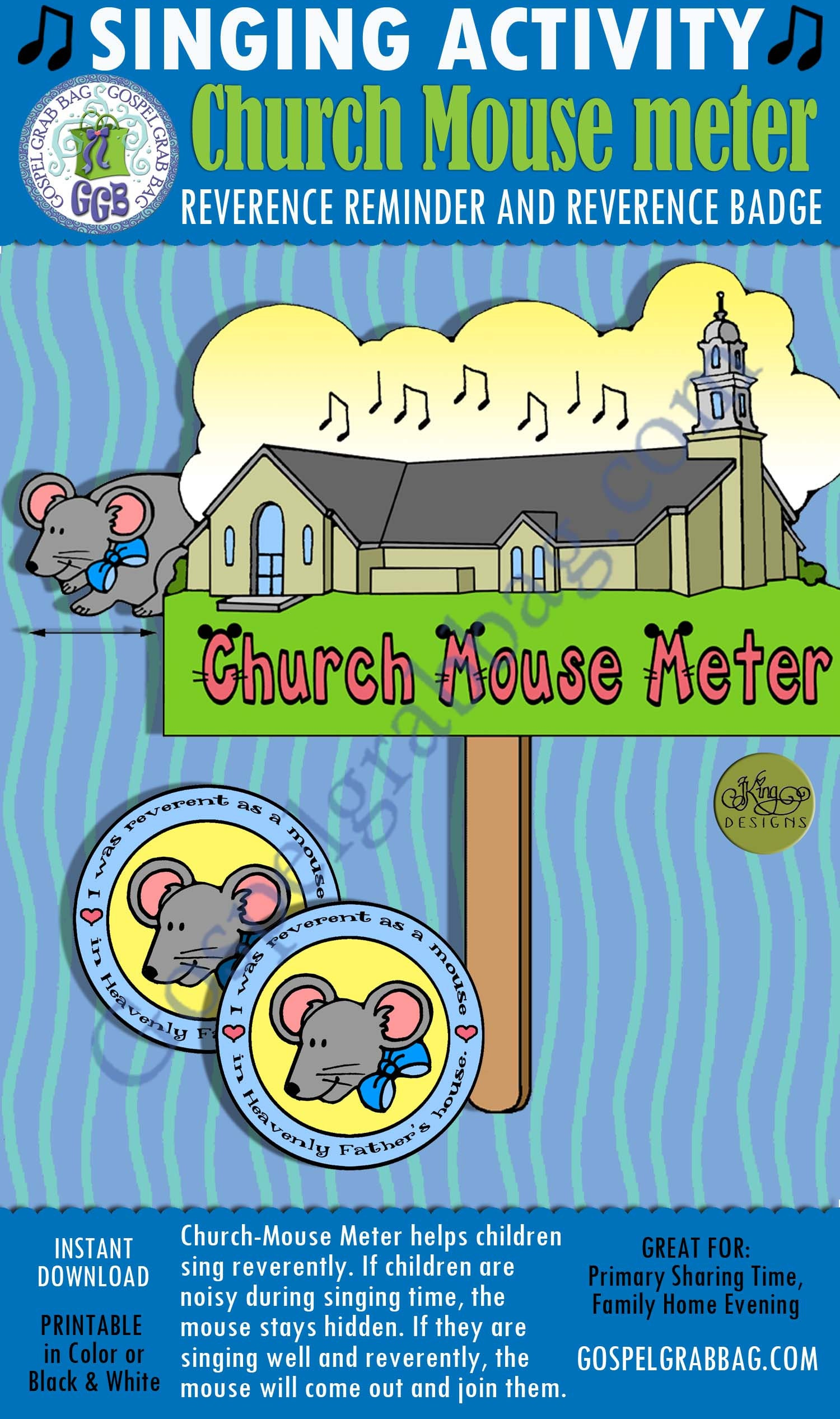 """Primary music singing activity, """"church mouse meter"""" reverence."""