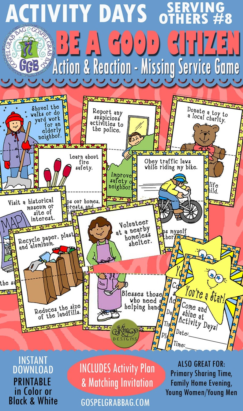 Activity Days Serving Others GOAL 8 PRINTABLE Invitation and Activity: