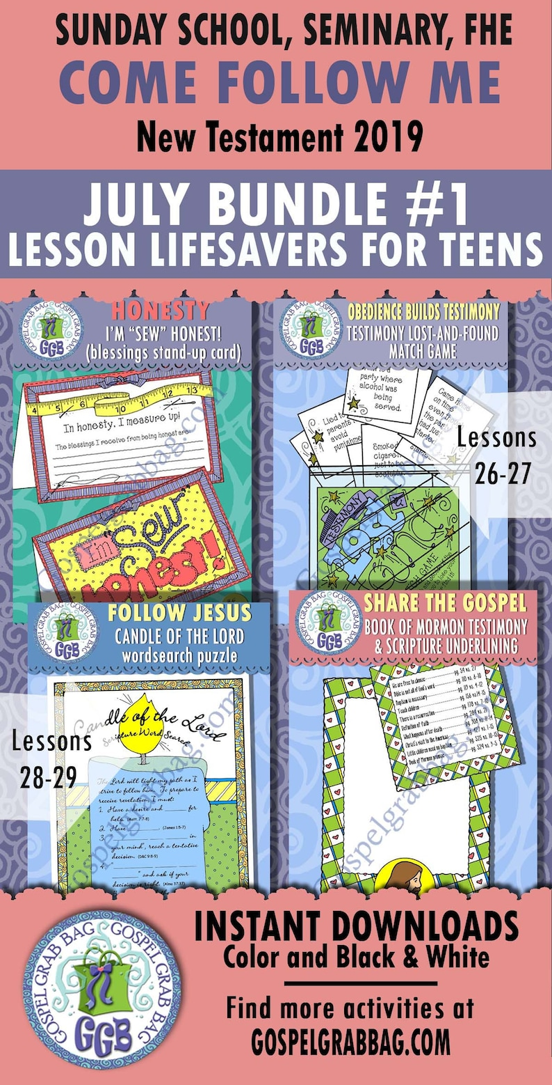 2019 JULY - Teens Come Follow Me Lesson 26-29 Bundle 1 Primary-Home  Activities: