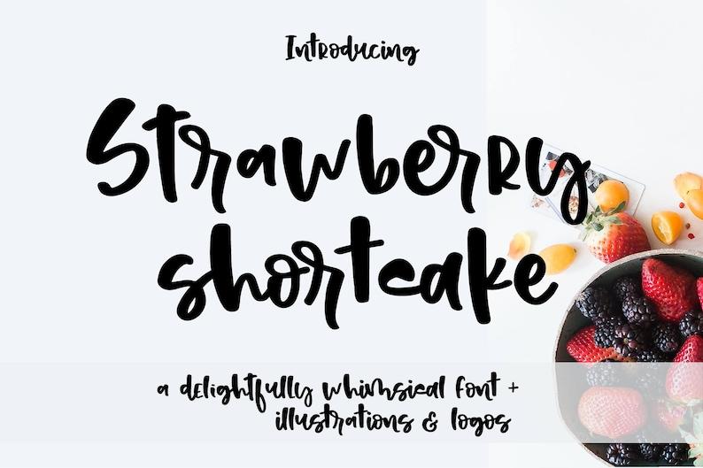 Strawberry Shortcake font, Modern font, Hand lettered Font, pre made logos,  Whimsical Font, sans serif font, playful font, bold font, bakery