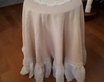 Linen ruffle with old lace tablecloth, tablecloth pink tablecloth with Ruffles, romantic chic tablecloth