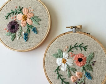 floral embroidery hoop tiny