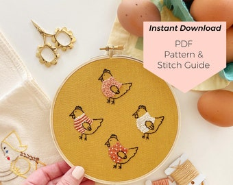 Grandma's Chickens Embroidery Pattern - Instant Digital Download - PDF Embroidery Pattern and Stitch Guide