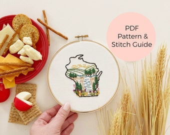 Wisconsin State Embroidery Pattern - Instant Digital Download -PDF Embroidery Pattern and Stitch Guide