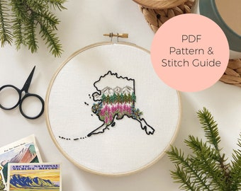 Alaska State Embroidery Pattern - Instant Digital Download -PDF Embroidery Pattern and Stitch Guide