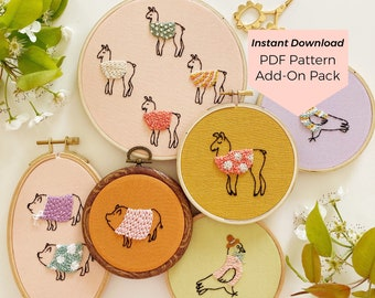Animals in Sweaters Add-on Pack 2 - Instant Digital Download - PDF Embroidery Pattern and Stitch Guide