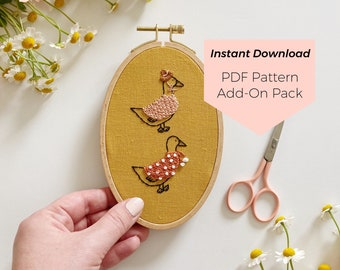 Animals in Sweaters Add-on Pack - Instant Digital Download - PDF Embroidery Pattern and Stitch Guide