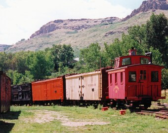 Red Caboose with Old Wood Box Cars