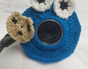 Cookie monster inspired camera buddy- sesame street-crochet-photography-kids/children's photography-photo prop-camera lens cover-lens buddy