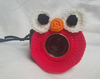 Elmo inspired camera buddy- sesame street-crochet-photography-kids/children's photography-photo prop-camera lens cover-lens buddy