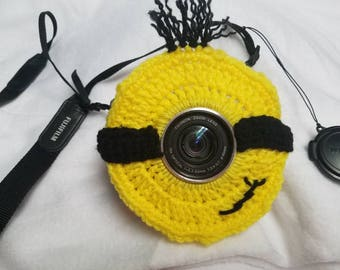 Minion inspired camera buddy-crochet-photography-kids/children's photography-photo prop-camera lens cover-lens buddy