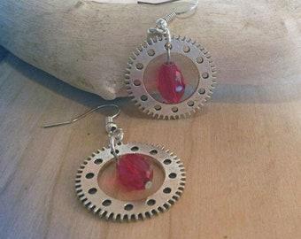 Steampunk gear earrings with drop