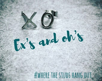 Ex's and oh's ( noughts and crosses) silver stud earrings