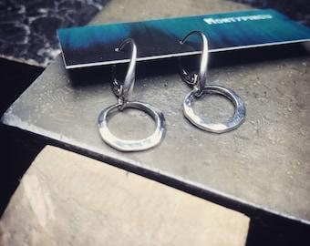 Handmade silver Continental hammered hoop earrings