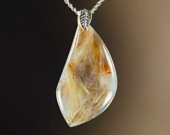 Pretty Bamboo Leaf Agate Pendant with Sterling, 59x32x7.5mm, 76.8 cts (NF1103)
