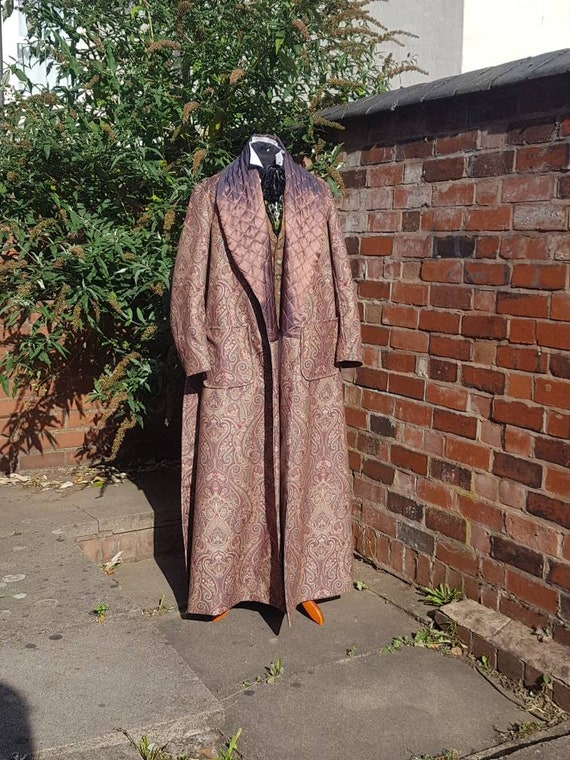 victorian Sherlock Holmes style velvet green paisley dressing gown, house coat.