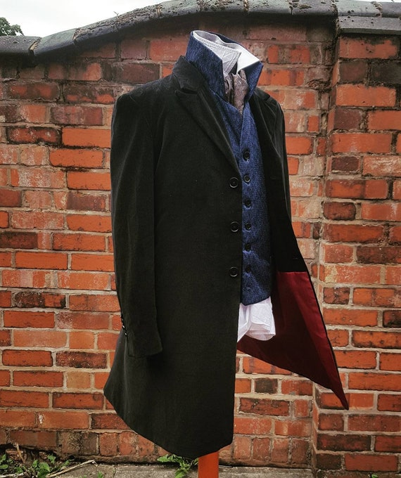 12th doctors black velvet frock coat with red lining