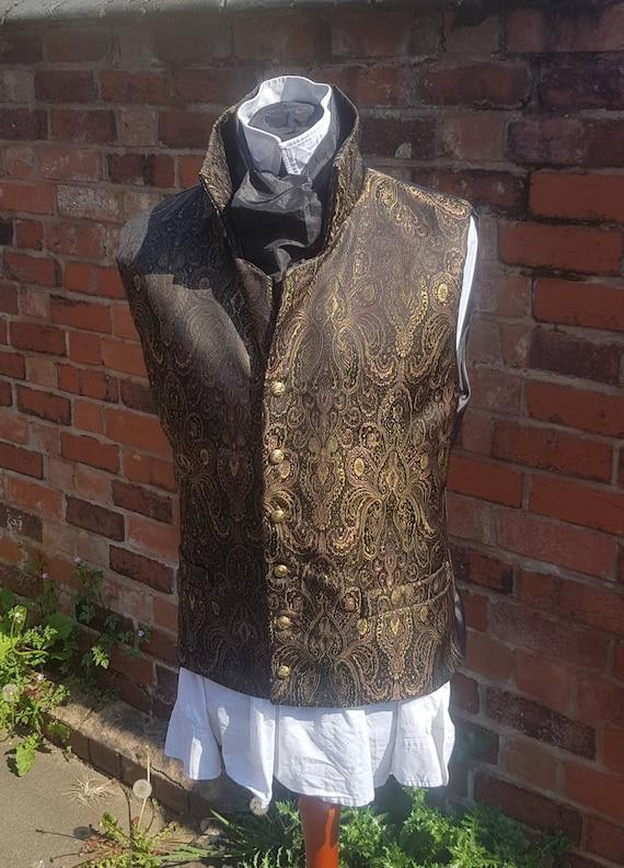 Regency, victorian gold paisley brocade steampunk waistcoat