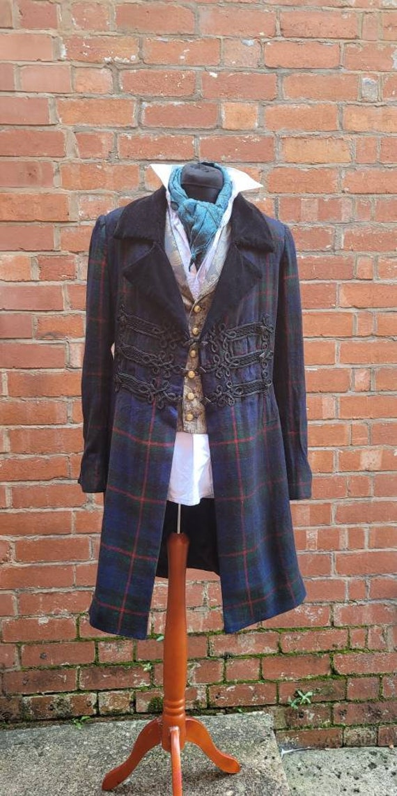 Sherlock Holmes tartan replica frock coat, hand stitched frog detailing, wool frock coat, closes with hook and eyes at the waist.