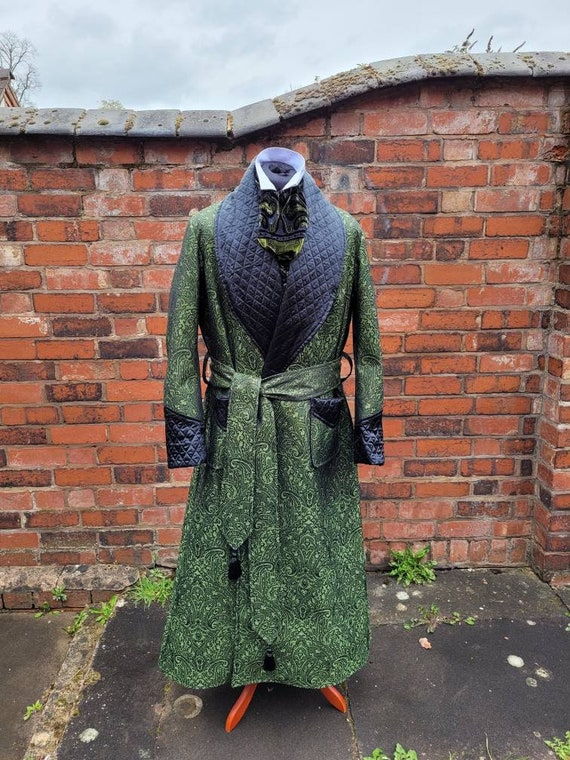 victorian Sherlock Holmes style paisley dressing gown, house coat. Steampunk