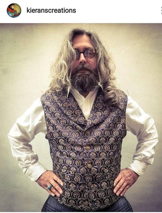 Victorian purple and gold brocade steampunk waistcoat