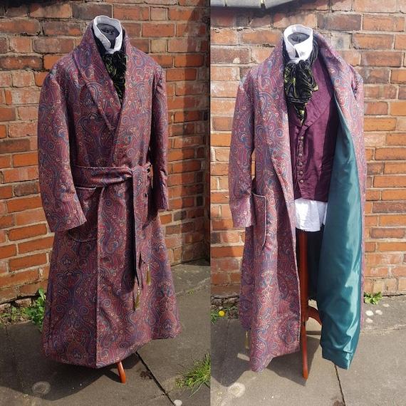 victorian Sherlock Holmes style velvet paisley dressing gown, house coat.