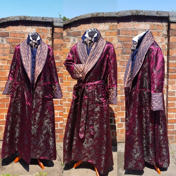 victorian Sherlock Holmes steampunk fashion brocade,  dressing gown, house coat.