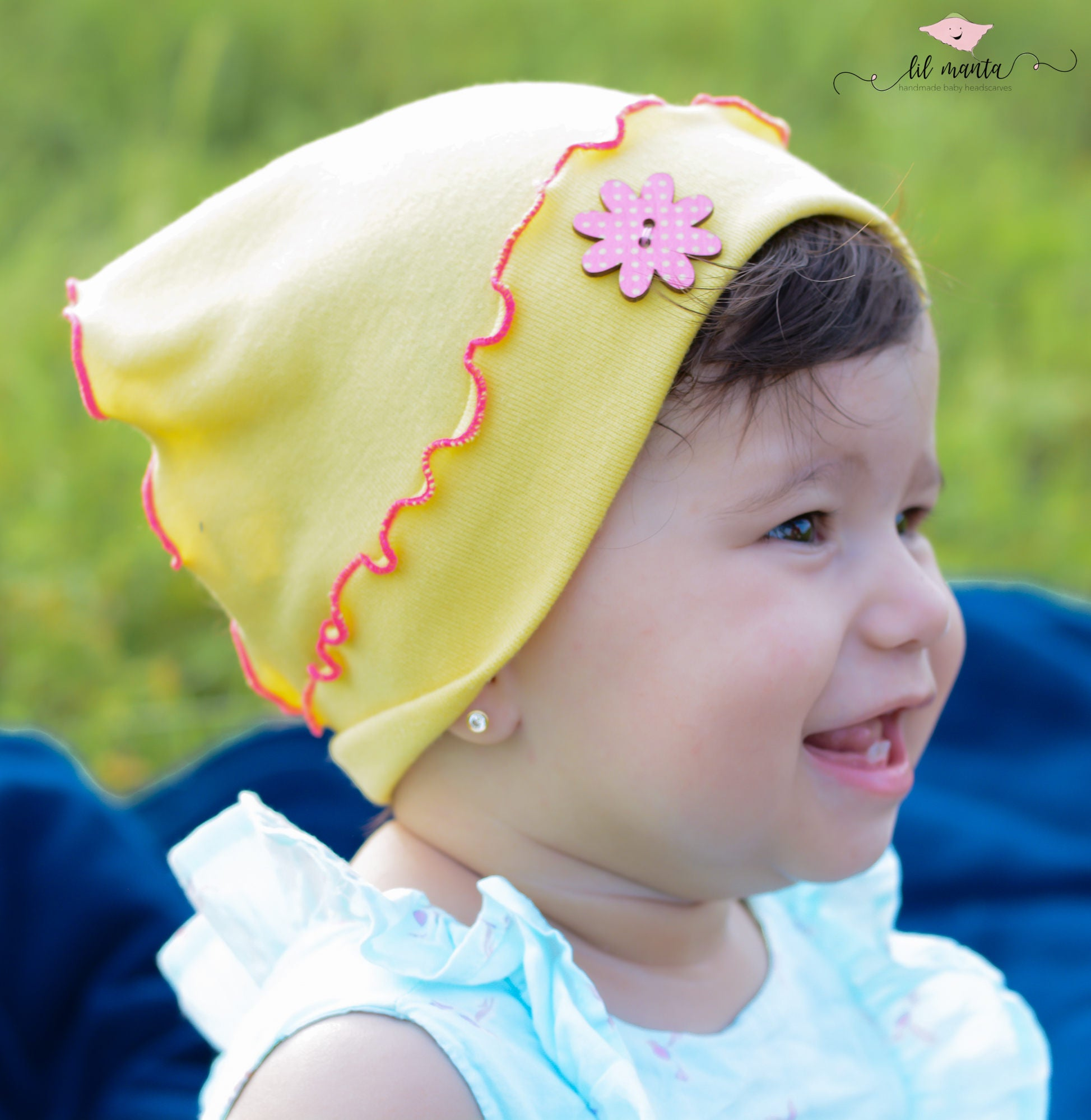 5d70379d7a1 toddler baby girl summer hat in yellow with pink wooden
