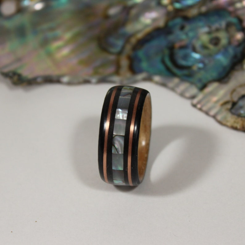 Dyed Oak and Natural Ash Bentwood Ring