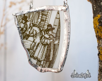 Broken china jewelry. Pottery shard jewelry. Belgium pottery. Soldered pendant. Vintage necklace. Gift for her. Woman necklace