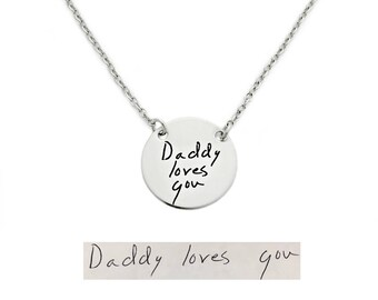 Personalized Signature Jewelry - Round Actual Handwriting Necklace - Personalized Jewelry - Memorial Keepsake - Handwritten Jewelry - 1304