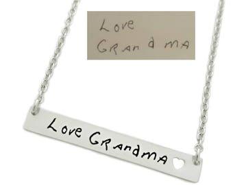 Handwriting Jewelry - Personalized Signature Necklace - Silver Bar Necklace - Handwritten Bar - Personalized Bar - Minimalist Jewelry - 1201