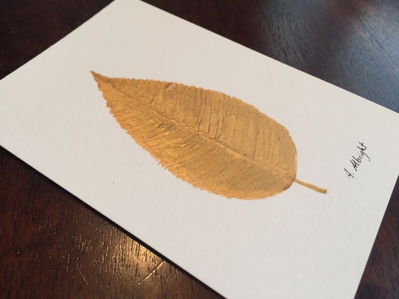 Gold Leaf ORIGINAL Acrylic Painting, Golden Leaf Painting, Gold Lead Art,  Nature Gallery Wall Art, Natural Tree Leaves Painting