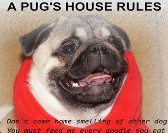 Pug wall art - Pug Lovers gift. Pugs House rules print for Pug Lovers - Instant Download.