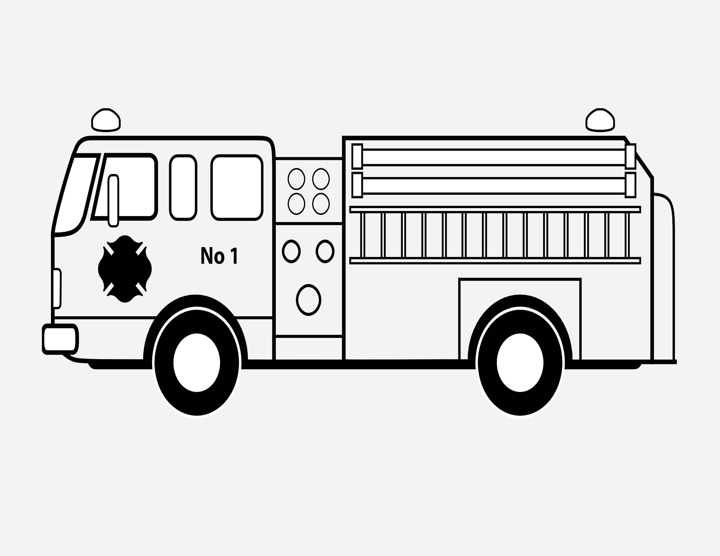 Printable Kids Coloring Pages Fire Truck. Trucks Activity | Etsy