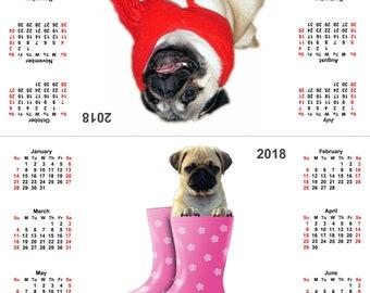 Pug 2018 desk calendar for Pug Lovers - Instant Download.